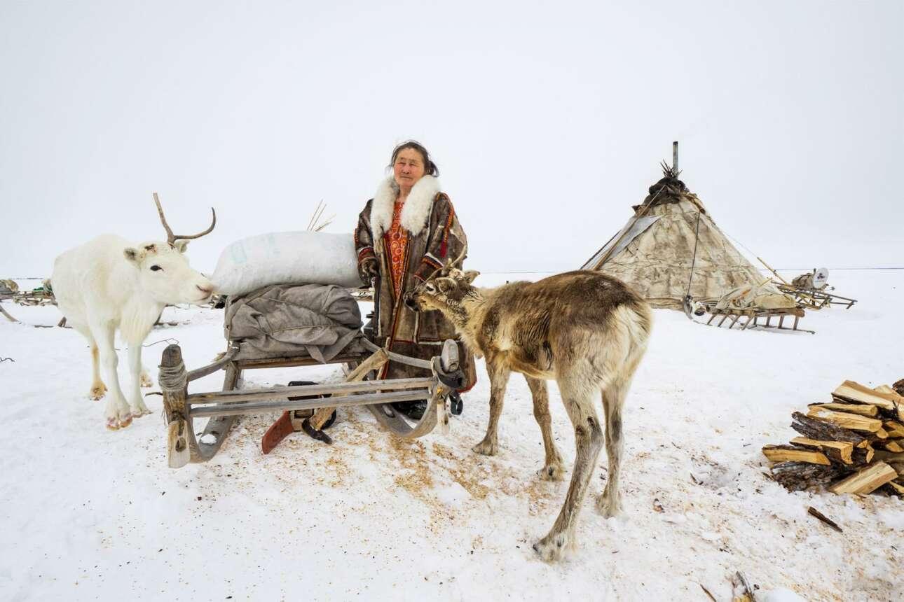 «Η Λίντα με τον Ιερό Τάρανδο», φιναλίστ στην κατηγορία Πορτρέτο: Η Λίντα ανήκει στην αυτόχθονη φυλή Νένετ, η οποία είναι γνωστή για την εκτροφή ταράνδων, στη Σιβηρία