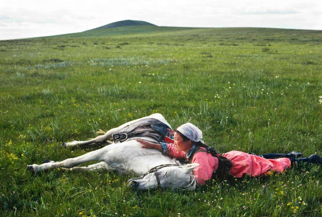 Αλογα εκπαιδεύονται για την πολιτοφυλακή στη Μογγολία, το 1979