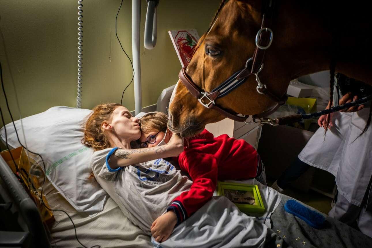 Γαλλία. Μία καρκινοπαθής στο κρεβάτι του πόνου της αγκαλιάζει τον γιο της – θέμα δυνατό. Η κεφαλή του αλόγου εισέρχεται στο πλάνο παράταιρα, όμως η λεζάντα μάς κατατοπίζει σχετικώς: «Η θεραπεία με τη βοήθεια ζώων χρησιμοποιείται σε πολλές κλινικές, ειδικά στην ψυχολογική στήριξη» («Σύγχρονα θέματα», δεύτερο βραβείο)