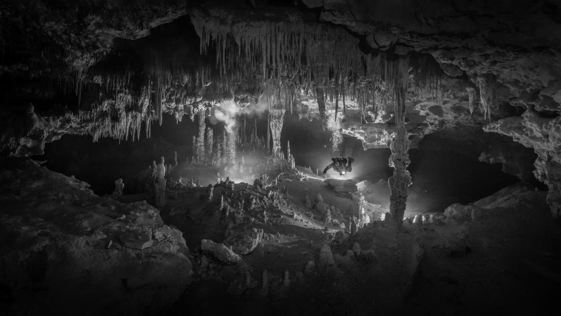 «Μυστήριο πλημμυρισμένων σπηλαίων», βραβείο «Black & White nature & Wildlife Series of the Year 2021». Οι φωτογραφίες τραβήχτηκαν κατά τη διάρκεια καταδύσεων σε σπήλαια με σταλακτίτες μέσα σε έναν τεράστιο λαβύρινθο υπόγειων ποταμών στο Γιουκατάν του Μεξικού, που κρύβει τα μυστικά του πολιτισμού των Μάγια