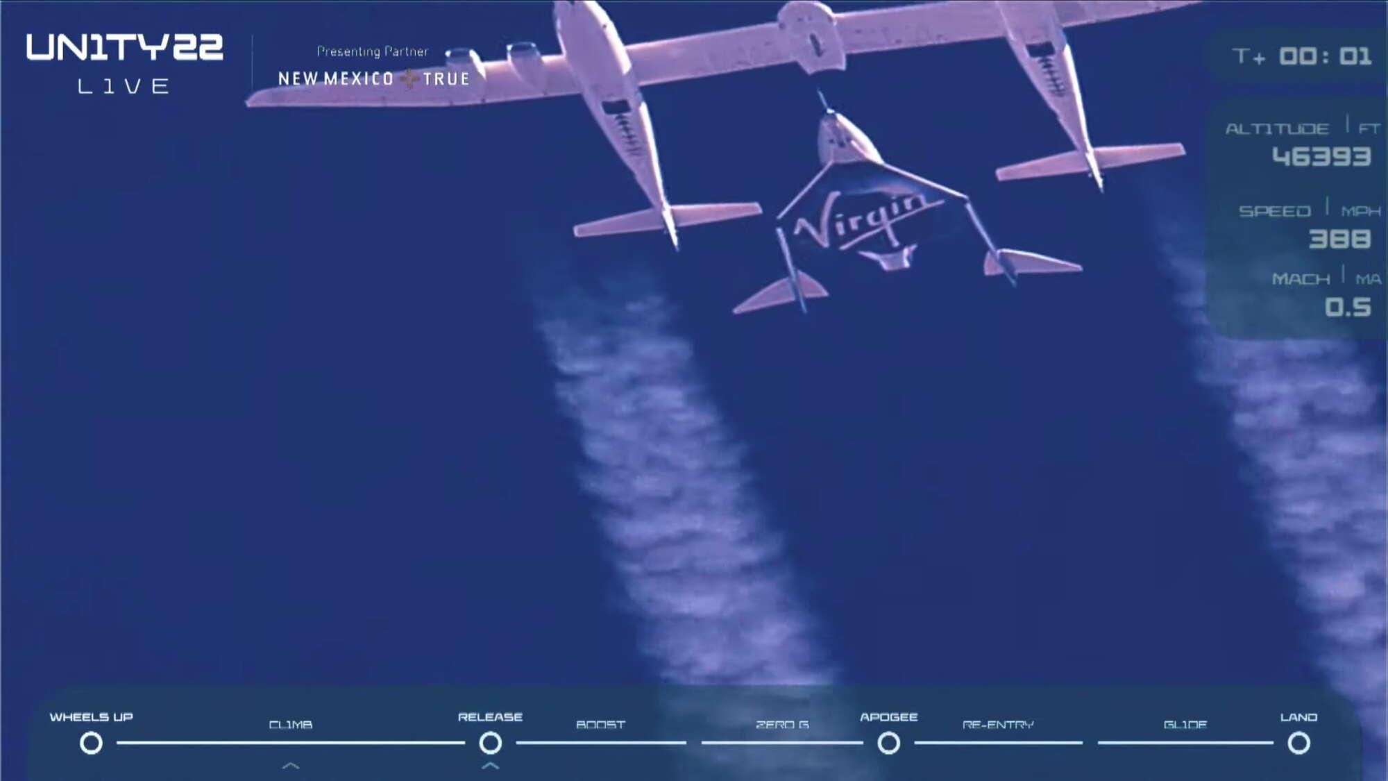 Η κρίσιμη στιγμή. Περίπου 15.000 μέτρα από την επιφάνεια της θάλασσας το Unity ετοιμάζεται για το μεγάλο άλμα προς το Διάστημα