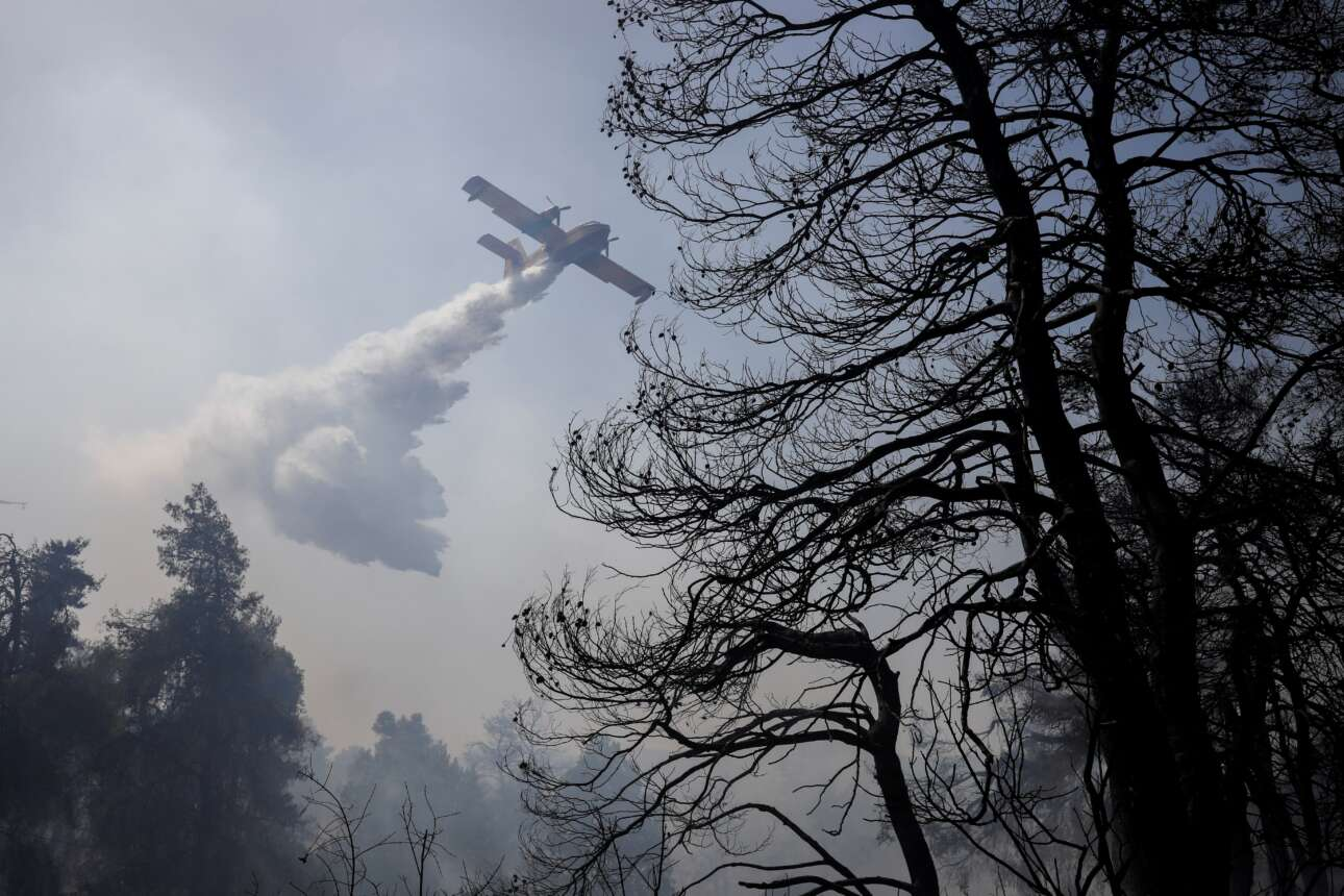 Στιγμιότυπο από την επιχείρηση κατάσβεσης της πυρκαγιάς στις βόρειες περιοχές της Αττικής την περασμένη Τρίτη, δηλαδή στην αρχή του καύσωνα διάρκειας που υφιστάμεθα.
