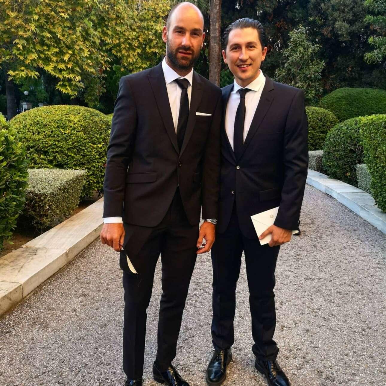 O σπουδαίος του ελληνικού μπάσκετ Βασίλης Σπανούλης με τον εκπρόσωπο Τύπου του Κινήματος Αλλαγής Παύλο Χρηστίδη