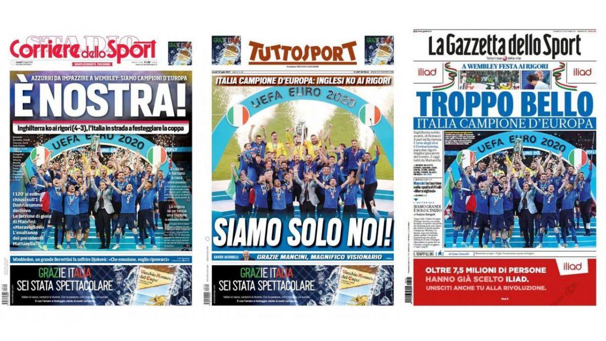 Και μια ματιά στα πρωτοσέλιδα του αθλητικού Τύπου της Ιταλίας για την κατάκτηση του τροπαίου από την ομάδα που πριν από μερικούς μήνες δεν είχε καταφέρει ούτε καν να προκριθεί στα τελικά του Παγκοσμίου Κυπέλλου