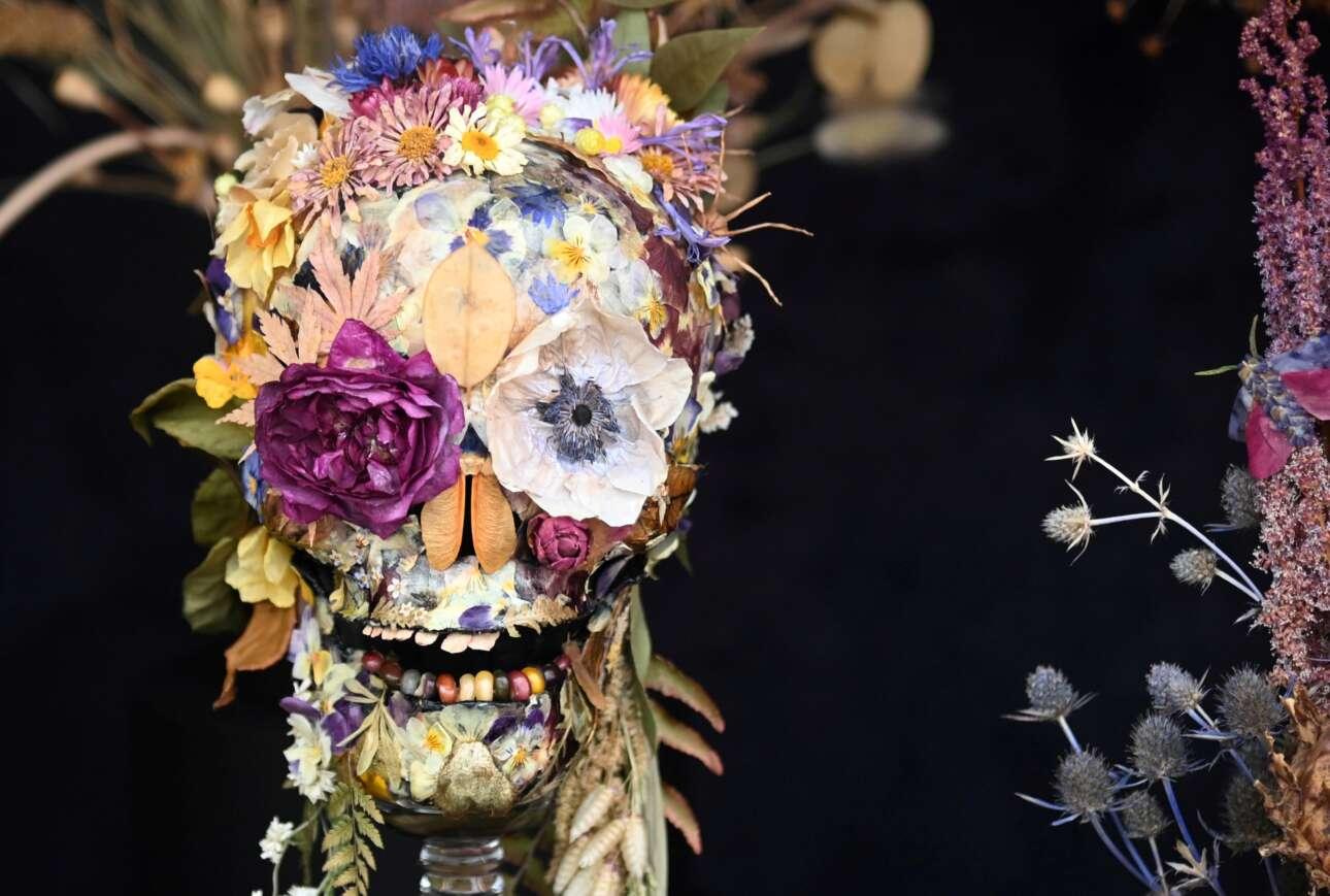 Η ανθοκομική έκθεση στο λονδρέζικο Τσέλσι πρόβαλε και αυτή τη (μακάβρια; μεταφυσική;) σύνθεση: τα αποξηραμένα λουλούδια σχηματίζουν ένα χίπικης αισθητικής ανθρώπινο κρανίο που, παραδόξως, ταιριάζει και με το γνωστό ανθόσπαρτο γερμανικό μαρς «Erika»